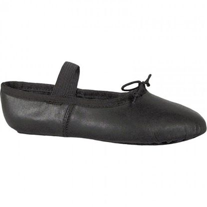 Child black leather ballet shoe