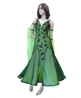 Green Ballroom Gown with Black Flowers