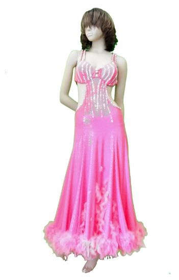Pink Ballroom Gown with Feathers