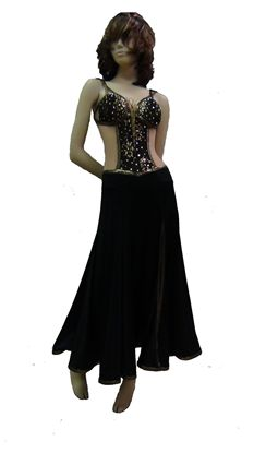 Black and Gold Corset Smooth Dress