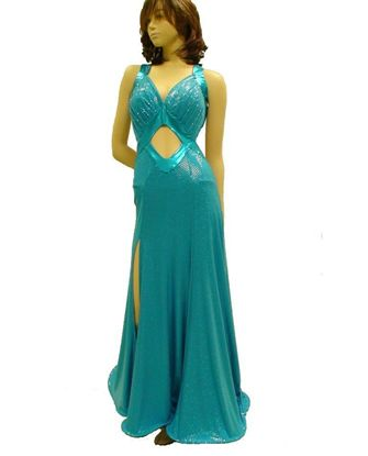 Picture of Turquoise Shimmery Smooth Gown