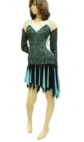 Picture of Turquoise Leopard latin Dress