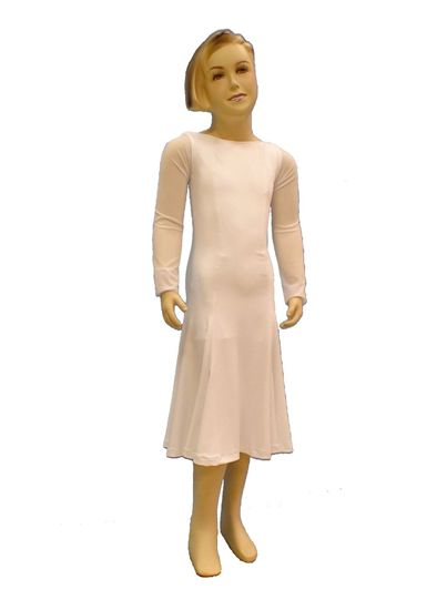 Picture of Two-layer boatneck Ballroom Dress with mesh sleeves