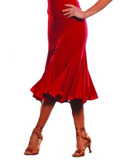 Picture of 8 Panel Banded Silhouette Skirt - red