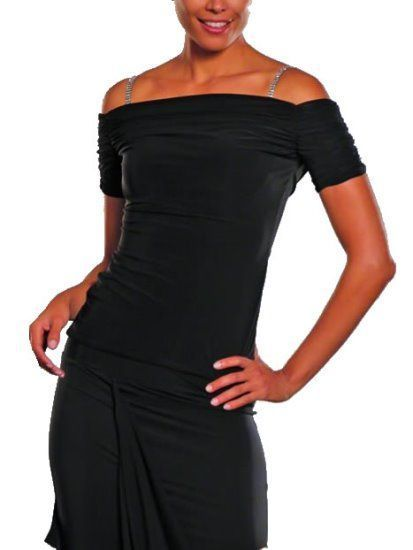Picture of Cap Sleeve Ruched Top - black