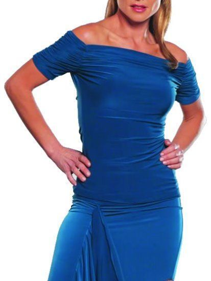 Picture of Cap Sleeve Ruched Top - teal
