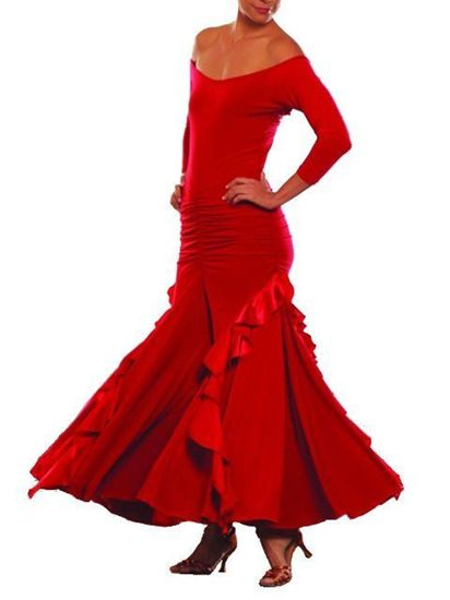 Picture of Long Charmeuse Ruffled Dress - red