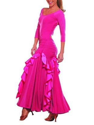 Picture of Long Charmeuse Ruffled Dress - pink