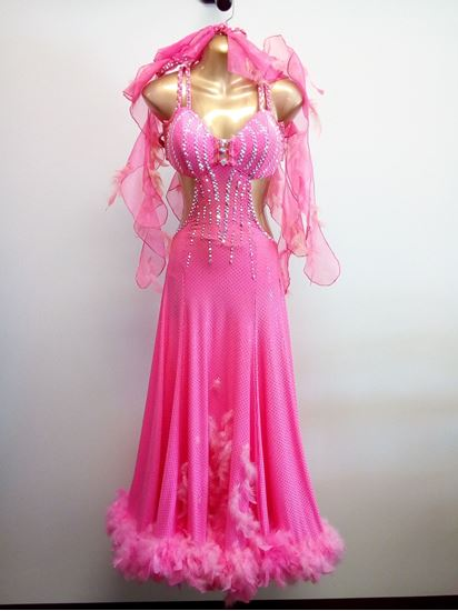 Bright Pink Ballroom Gown with Feathers for rent or sale