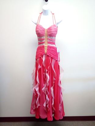 Coral Ballroom Gown with Rusched Bodice for rent or sale