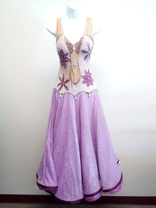 Lilac Ballroom Gown with Flowers for rent or sale in Houston