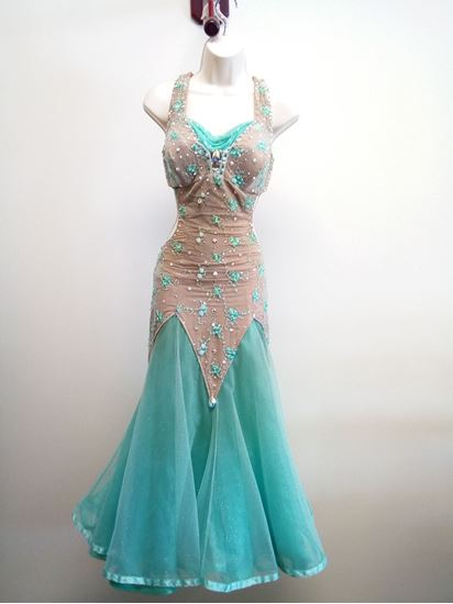 Mint Ballroom Gown with Small Flowers for rent or sale in Houston