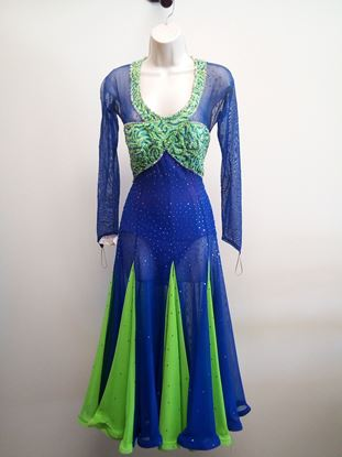 Royal Blue and Green Ballroom Gown for rent or sale in Houston