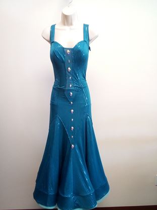 Teal Ballroom Gown for rent or sale in Houston