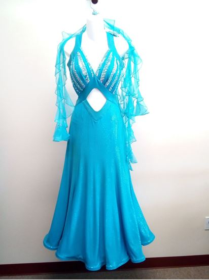 Turquoise Ballroom Gown for rent or sale in Houston
