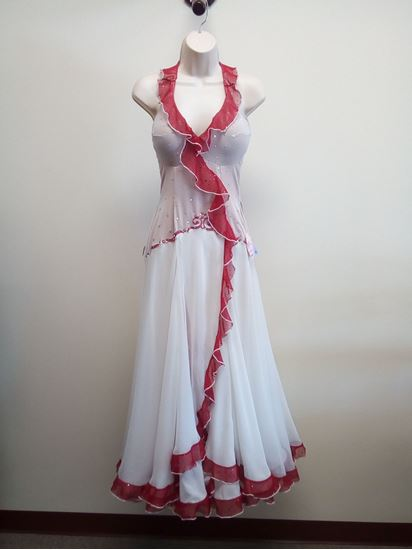 White Ballroom Gown with Red Ruffles for rent or sale in Houston