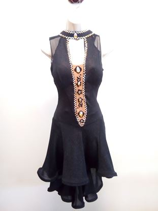 Black Latin Dress with Bouncy Skirt for rent or sale in Houston