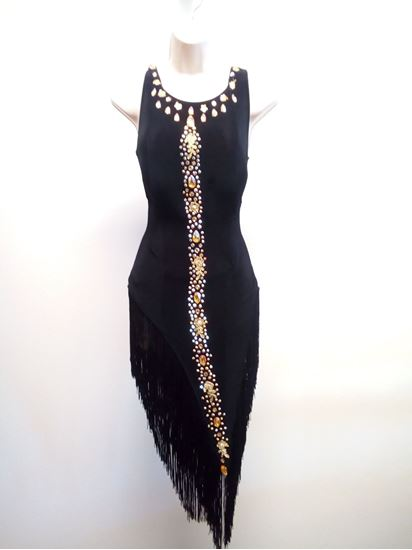 Black Latin Dress with Fringes for rent or sale in Houston