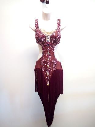 Maroon Latin Dress with Fringes for rent or sale in Houston