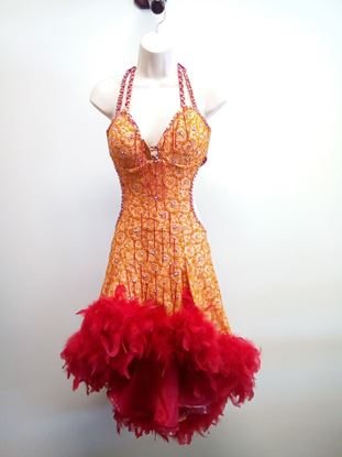 Orange Latin Dress with Red Feathers for rent or sale in Houston