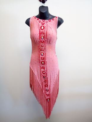 Peach Latin Dress with Fringes for rent or sale in Houston