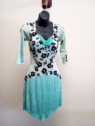 Turquoise Latin Dress with Black Flowers and Fringe Skirt for rent or sale in Houston