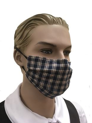 Navy Blue Plaid  - coronavirus Fashion Face Mask (3-layer)
