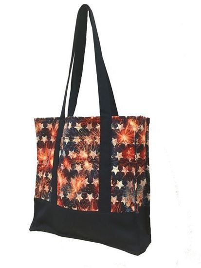 "Reusable shopping tote bag with pocket ""American Fireworks"""