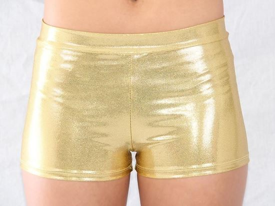 "Adult Gold Metallic Hot Shorts with 1"" Inseam"