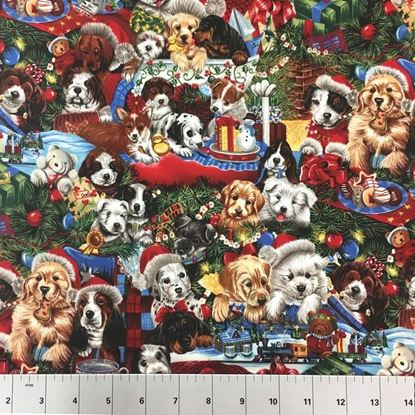 Christmas Dogs (100% Cotton Fabric)