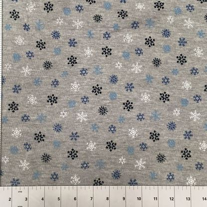 Snowflakes on Cool Grey (Stretch Cotton Knits Fabric) in Houston