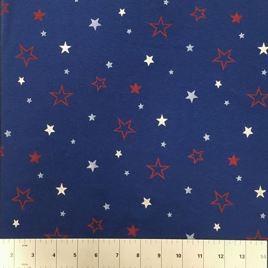 Patriotic Red and White Stars on Blue  (Stretch Cotton Knits Fabric) in Houston