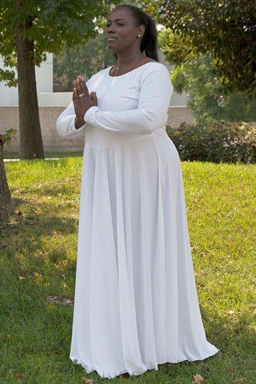 White liturgical praise dance dress in Houston and Sugar Land